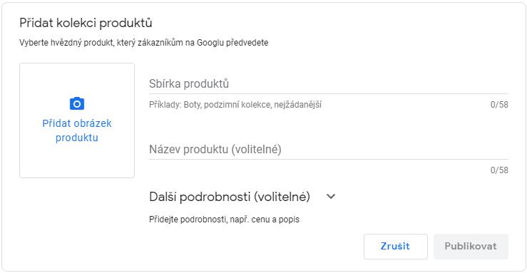 Přidání produktů v Google My Business