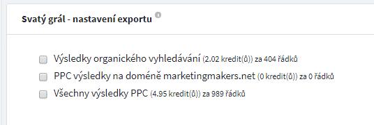 Export dat pro Svatý grál