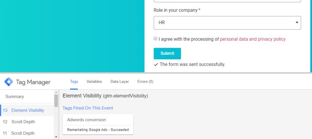 Google Tag Manager Preview mód - úspěšná konverze Google Ads